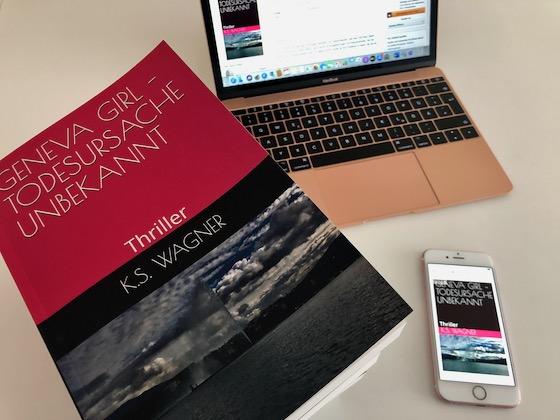 Taschenbuch Geneva Girl und Macbook